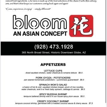 Bloom Menu Front