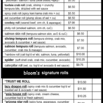 Bloom Sushi Menu